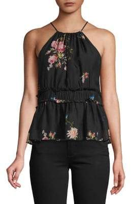 Joie Ruffled Floral Silk Top