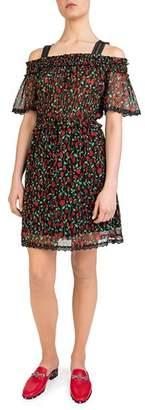 The Kooples Floral-Print Cold-Shoulder Dress