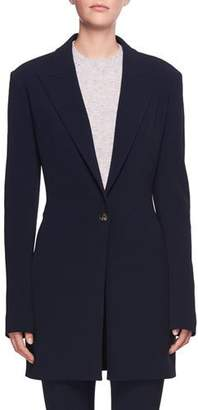 The Row Maklin One-Button Long Wool Blazer Jacket