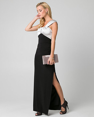 Le Château Satin & Knit One Shoulder Gown