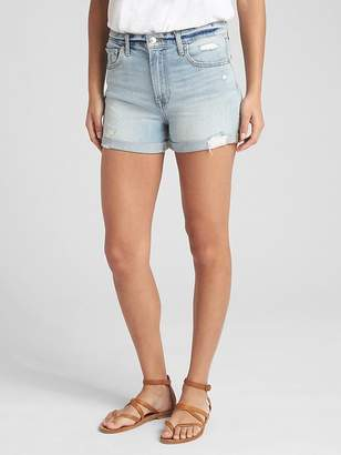 """Gap High Rise 3"""" Denim Shorts with Distressed Detail"""