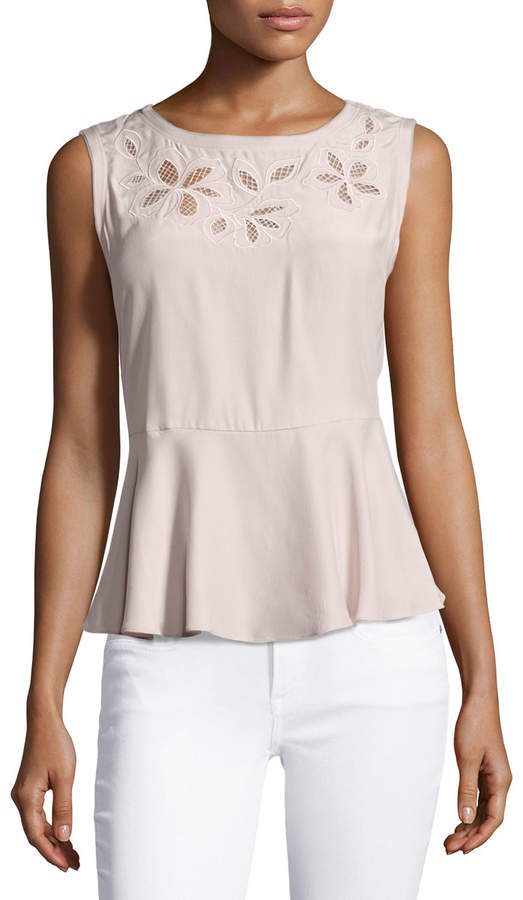 Rebecca TaylorRebecca Taylor Floral-Embroidered Sleeveless Silk Top, Pink