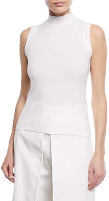 Rosetta Getty Turtleneck Sleeveless Mini-Rib Jersey Cotton Top
