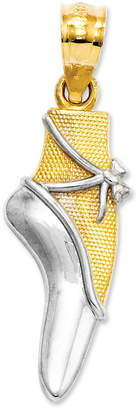 Macy's 14k Gold and Sterling Silver Charm, Ballet Shoe Charm