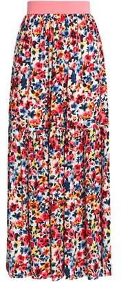 Love Moschino Pleated Floral-Print Crepe Maxi Skirt