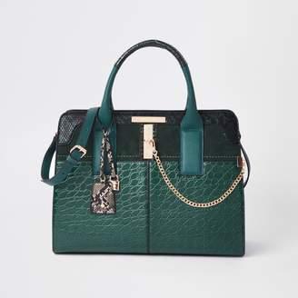 River Island Womens Dark green croc embossed tote bag