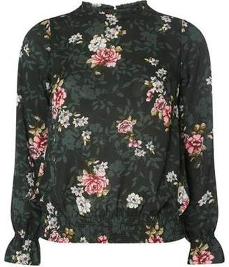 Dorothy Perkins Womens Green Floral Print High Neck Blouse