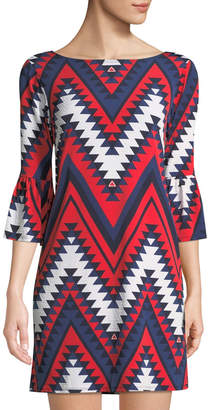 Neiman Marcus 3/4-Bell Sleeve Chevron Print Dress