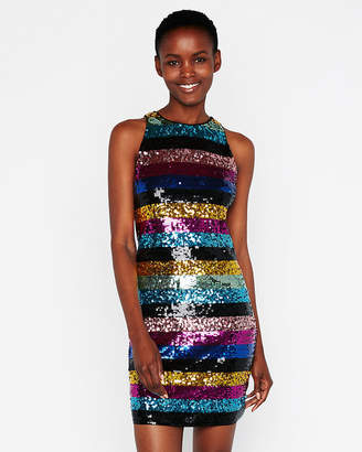 Express Striped Sequin Embellished Mini Sheath Dress