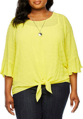 Alyx Womens Round Neck 3/4 Sleeve Blouse-Plus