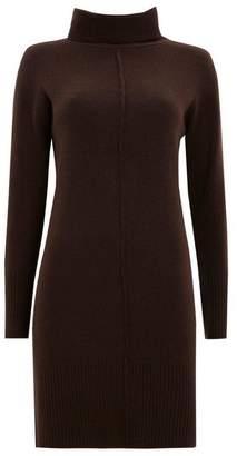 Wallis Brown Textured Roll Neck Jumper Dress