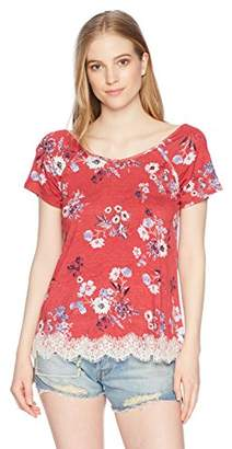 Jolt Women's Short Sleeve Lace Hem Top
