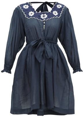 Innika Choo Don B. Baad Embroidered Ramie Mini Dress - Womens - Navy
