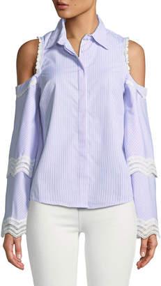Free Generation Cold-Shoulder Lace-Trimmed Button-Front Blouse
