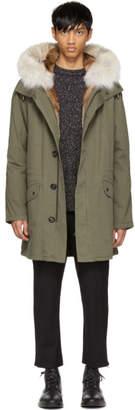 Yves Salomon Green Long Fur-Lined Military Coat