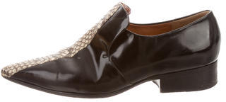 CelineCéline Snakeskin-Trimmed Pointed-Toe Loafers