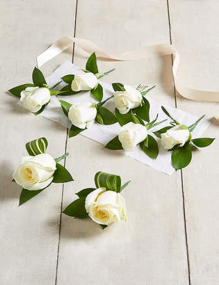 Marks and Spencer The Collection White Rose - Buttonhole Wedding Party Package