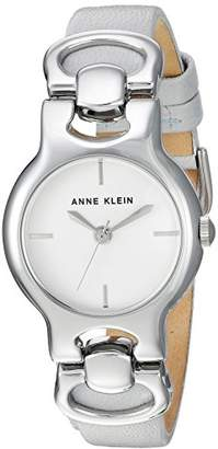 Anne Klein Women's AK/2631SVLG Silver-Tone and Light Grey Leather Strap Watch