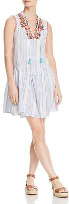 Johnny Was Grange Striped Linen Drop-Waist Dress