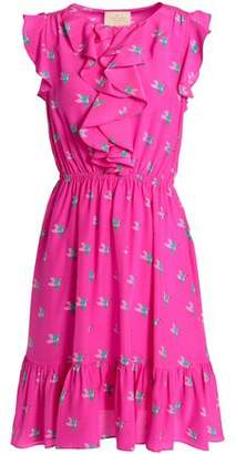 Kate Spade Ruffled Printed Silk Crepe De Chine Mini Dress