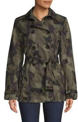 Jane Post Short Camo Trench Coat