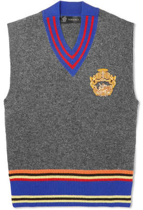 Versace Appliquéd Striped Wool Sweater Vest