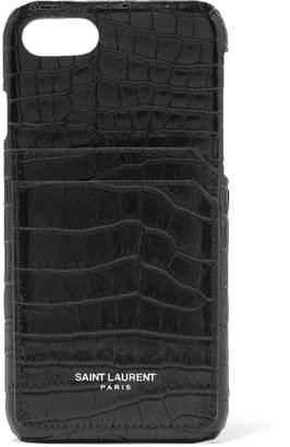 Saint Laurent Croc-effect Leather Iphone 8 Case - Black
