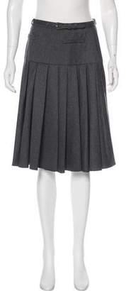 Oscar de la Renta Wool Pleated Skirt