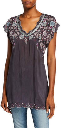 Johnny Was Hayden Short-Sleeve Embroidered Georgette Tunic