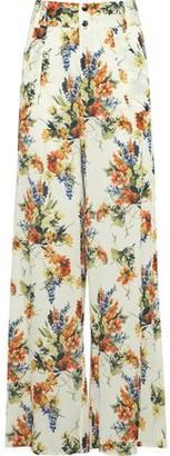 Haute Hippie Annie Floral-Print Crepe De Chine Wide-Leg Pants