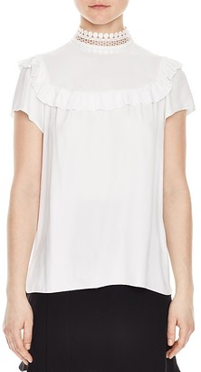 Sandro Ombline Lace-Collar Top $210 thestylecure.com