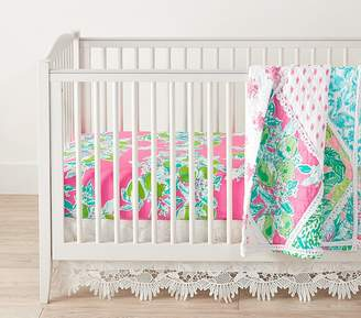 Pottery Barn Kids Lilly Pulitzer Quilt Set with Pink Lemonade Crib Fitted Sheet