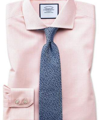 Charles Tyrwhitt Extra slim fit cutaway non-iron natural cool micro check orange shirt