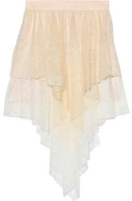 Philosophy di Lorenzo Serafini Asymmetric Layered Chantilly Lace And Crocheted Mini Skirt