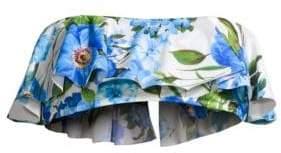 Milly Rose-Print Ruffle Bandeau Bikini Top