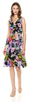Tahari by Arthur S. Levine Women's Sleeveless Fit and Crepe Chiffon Dress with Tie at Waist