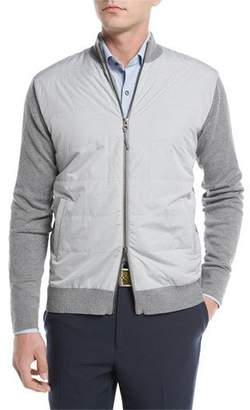 Peter Millar Patterson Full-Zip Hybrid Melange Cardigan, Dark Gray