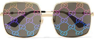 Gucci Square-frame Gold-tone Sunglasses - Black