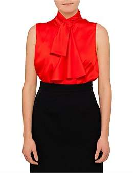 Alexander McQueen Sleeveless Silk Bow Top