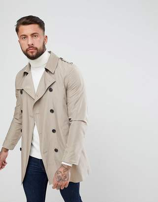 Asos Design DESIGN shower resistant double breasted trench coat in stone