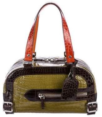 Prada Tricolor Crocodile Bauletto Bag