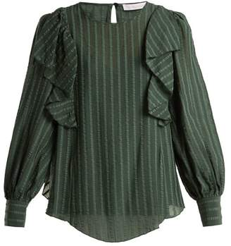 See by Chloe Ruffled Cotton Blend Blouse - Womens - Khaki