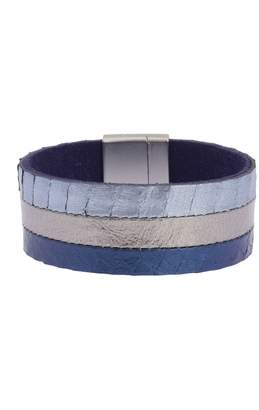 Saachi Tasteful Triple Strand Metallic Leather Bracelet