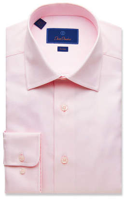 David Donahue Men's Trim-Fit Micro-Basketweave Dress Shirt