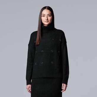 Vera Wang Women's Simply Vera Embellished Turtleneck Sweater
