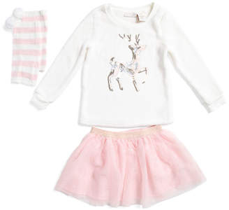 Little Big Girls 2pc Deer Top And Mesh Skirt With Leg Warmers Set