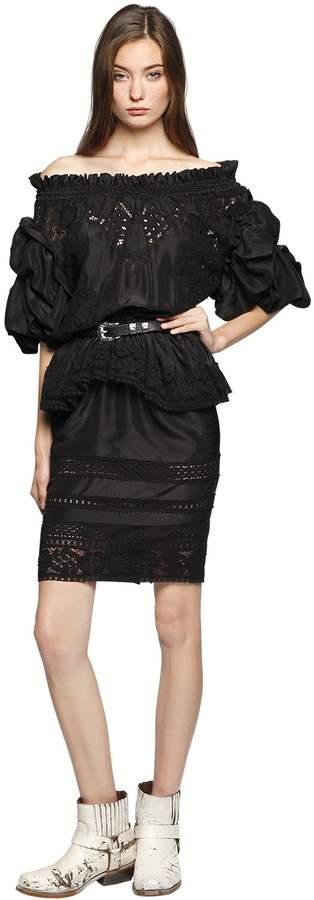 Faith Connexion Washed Silk & Lace Off Shoulder Dress