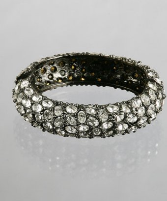 Kenneth Jay Lane hematite oval crystal studded bangle