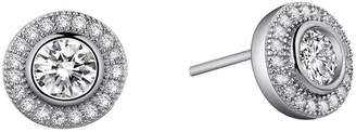Lafonn Platinum Plated Sterling Silver Bezel Set Simulated Diamond & Pave Halo Round Stud Earrings