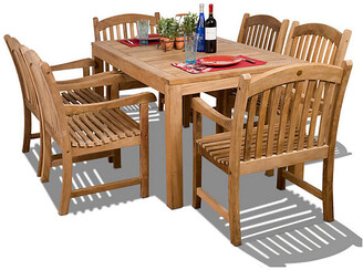 International Home Miami Oslo 7-Pc Teak Rect. Outdoor Dining Set